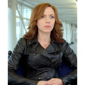 Civil War Scarlett Johansson Black Leather Jacket