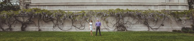 panorama of couple in front of flowers