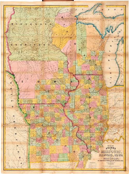 MAP OF THE STATES OF MISSOURI ILLINOIS IOWA AND