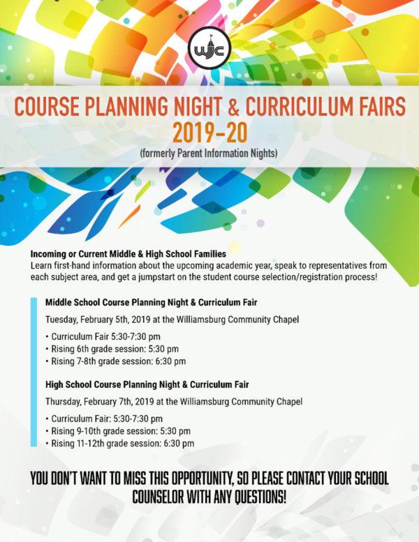 Parent Information Sessions & Curriculum Fairs for WJCC Parents
