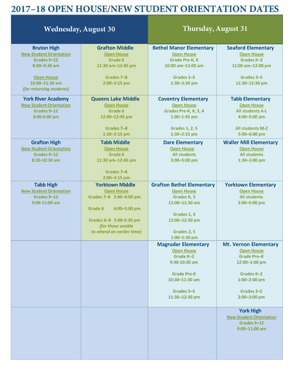 York County School Division Open Houses School Calendar 2017