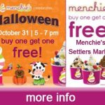Buy One Get One Free on Halloween at Menchie's Settlers Market from 5 – 7 pm – Learn More: