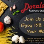 Love a deal? Use this coupon for 15% off your next meal at Doraldo Ristorante Italiano!