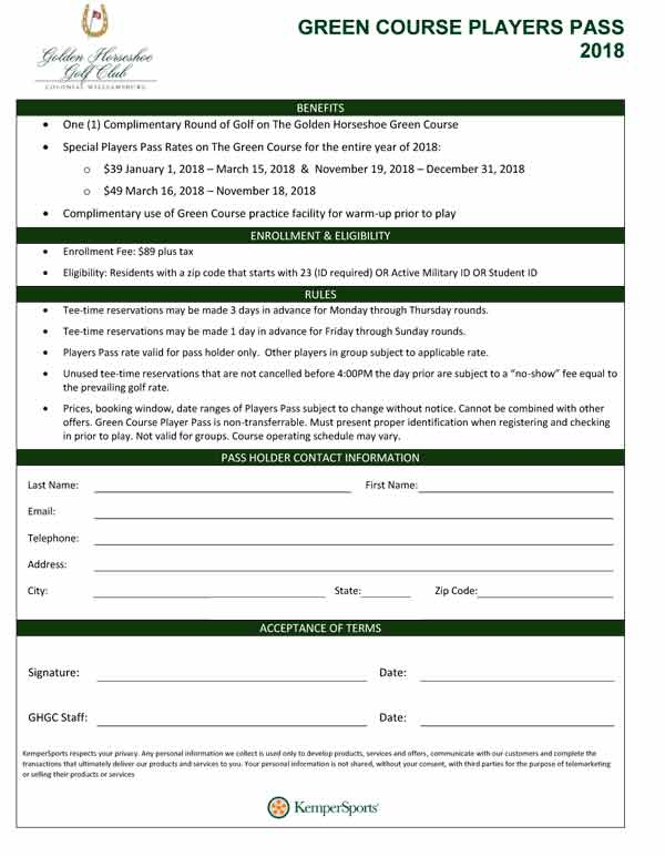 Green-Course-Players-Pass-Form-2018