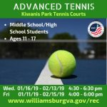 Advanced Tennis - Middle School / High School Students (ages 11 - 17) at Kiwanis Park - WilliamsburgRec!