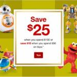 Don't Miss this Target Deal! Save $25 when you spend $100 or Save $10 when you spend $50 on Toys!