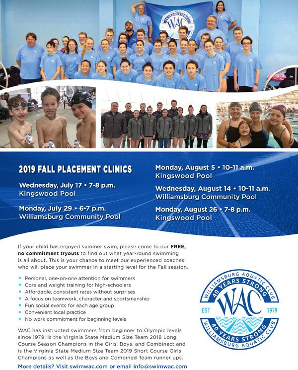 Williamsburg Aquatic Club Fall Placement Clinics | WilliamsburgFamilies