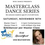 Masterclass Dance Series - students 8+ all levels - WISC Dance - Nov 16th