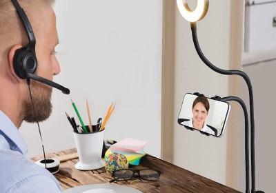 teleconferencing phone holder ring light