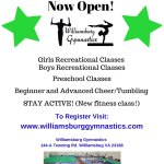 Williamsburg Gymnastics Fall Classes - Register Now