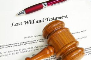 Last Will and Testament document with gavel and pen