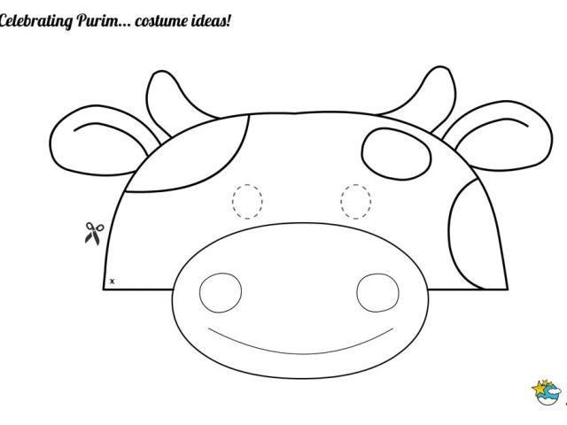 Purim Mask Template Diy Cow Costume Printable Diy Do It