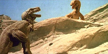 Stephen's T. rex meets Ray's Rhedosaurus in Planet of the Dinosaurs