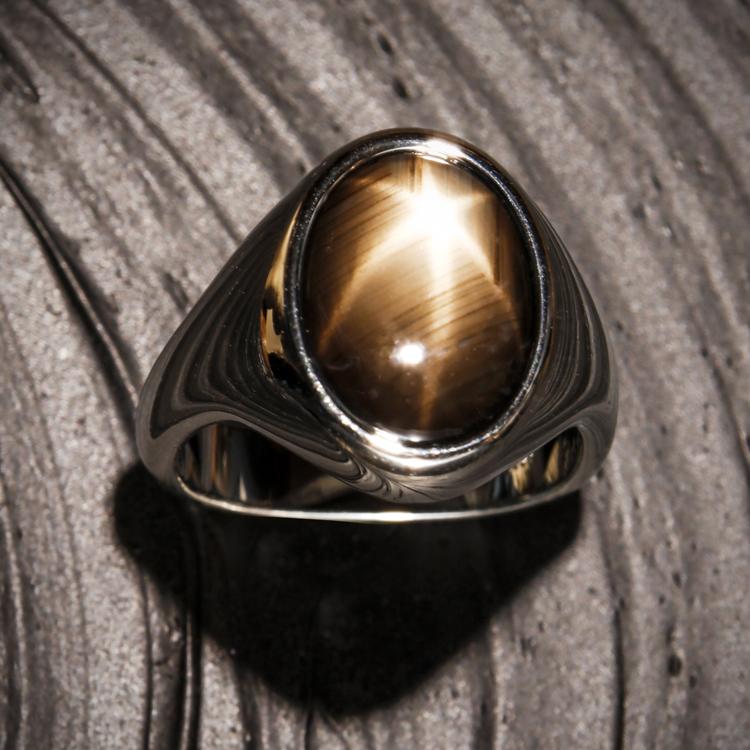 Mens black star sapphire ring