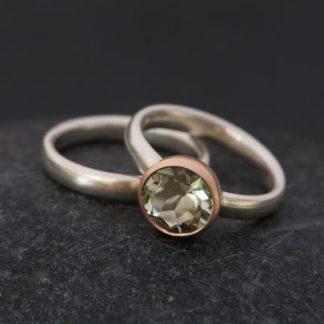 Aquamarine Cushion Cut Ring In Sterling Silver And Wedding Band