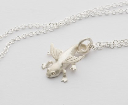 solid silver salamander charm on necklace