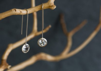 white topaz lollipop earrings in silver