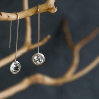 white topaz lollipop earrings in silver