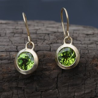 Peridot green dangle earrings