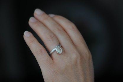 Pear cut prehnite ring