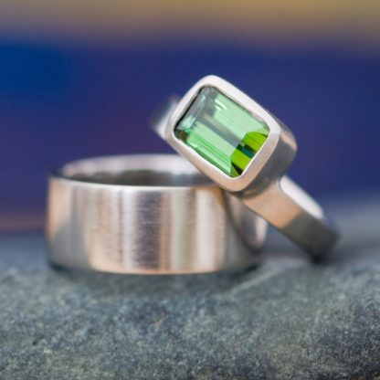 Green, emerald cut tourmaline ring set in 18K white gold with matching wedding band. Designed & handmade by William White