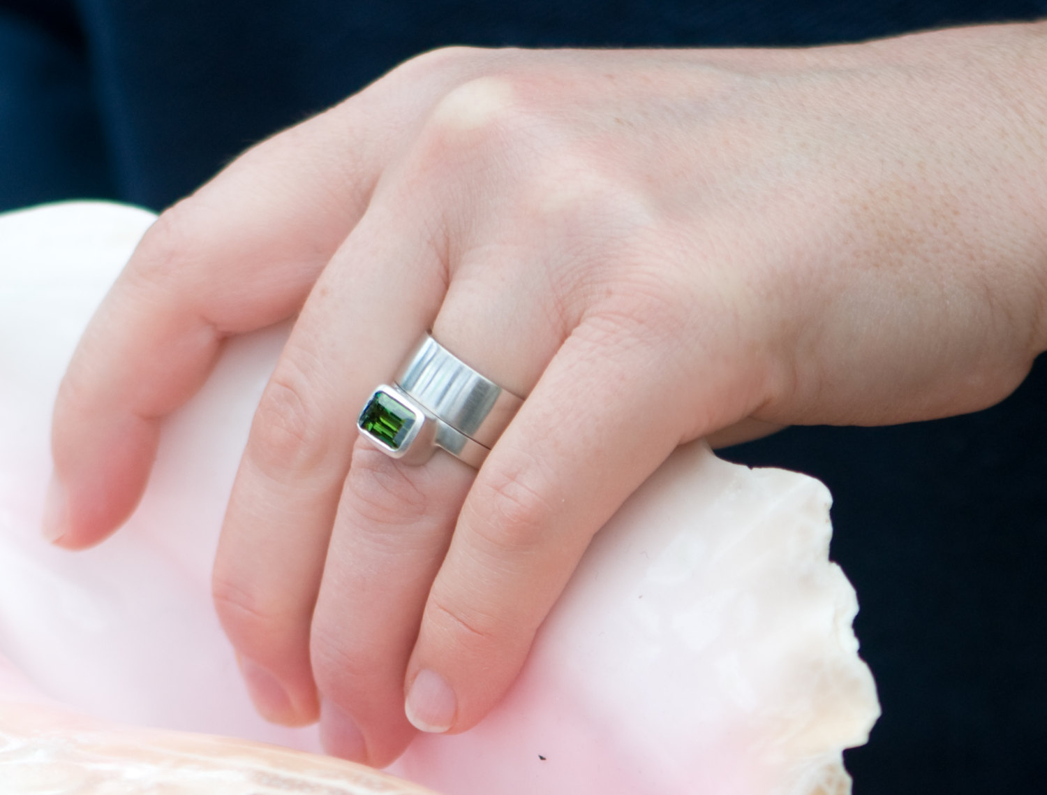 Green Tourmaline Emerald Cut Ring in 18K White Gold with Wedding ...