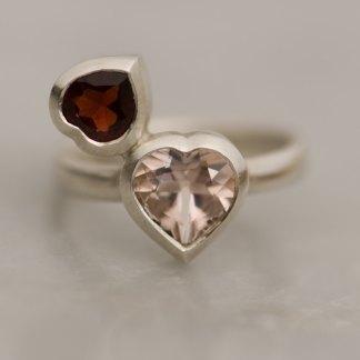 heart cut morganite and garnet set in sterling silver ring
