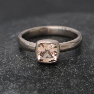 Pale pink morganite set in 18k white gold ring, by William White