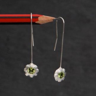 Green peridot flower earrings in silver. By William White