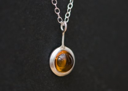 Simple cabochon citrine Lollipop necklace in sterling silver by William White