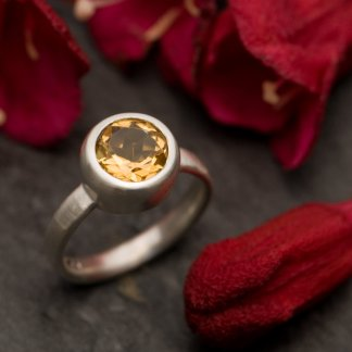 citrine solitaire set in silver ring by William White