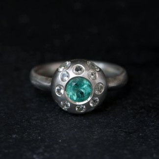 Emerald and sapphire multi-stone ring in silver
