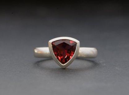 garnet trillion ring in silver
