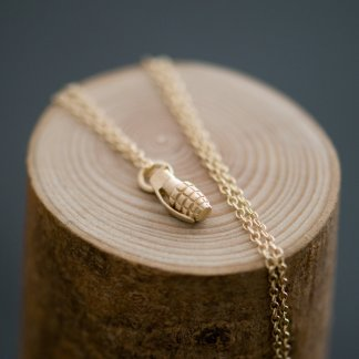 Gold grenade pendant on a fine 18 inch 9ct gold necklace. Its the bomb! Part of the 'Killer Charm' collection by William White, more charms available online