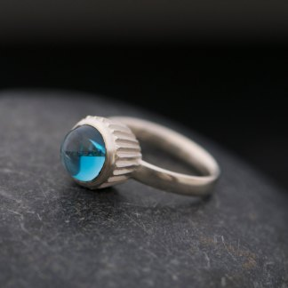 blue cupcake design ring in silver