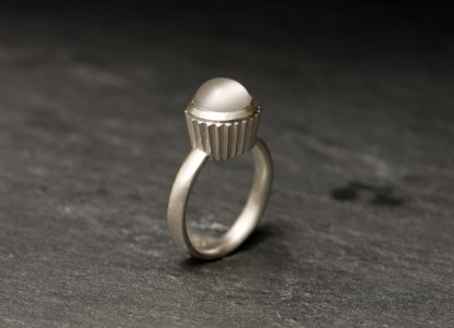 Moonstone cupcake design ring in silver by William White