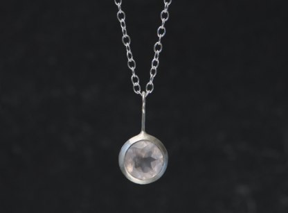 Rose Quartz lollipop necklace, set in satin finished sterling silver on a silver chain. Designed & handmade by William White