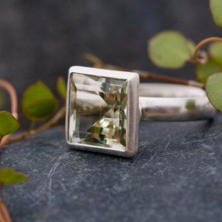 Square green amethyst stone set in sterling silver ring