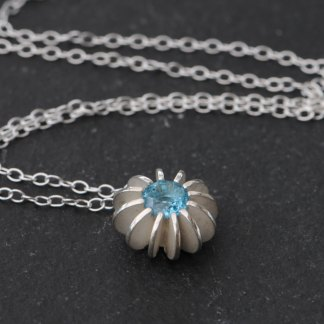 Beautiful Swiss Blue topaz 'Sea Urchin' necklace in silver on a silver chain. Part of William White's 'Sea Urchin' collection, handmade in Cornwall, UK.
