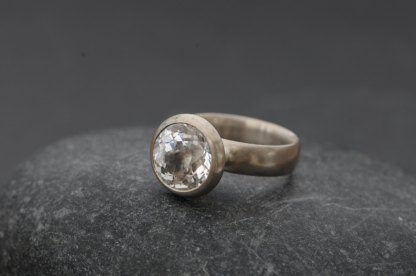 White topaz solitaire engagement ring