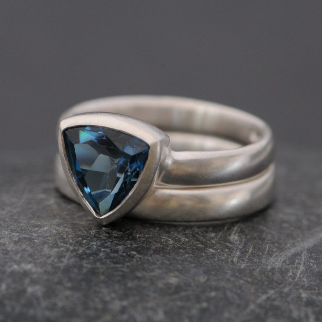 London Blue Topaz Trillion Ring And Wedding Band In Silver William
