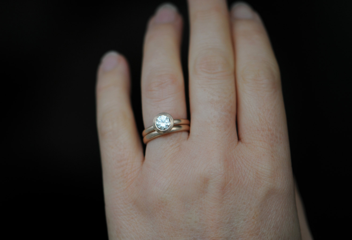 Moissanite Solitaire Ring in 18K Rose Gold with Wedding Band