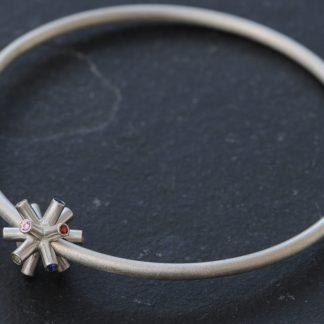 Sapphire bangle in silver