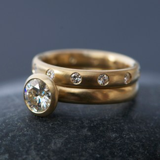 moissanite wedding set with eternity band 1