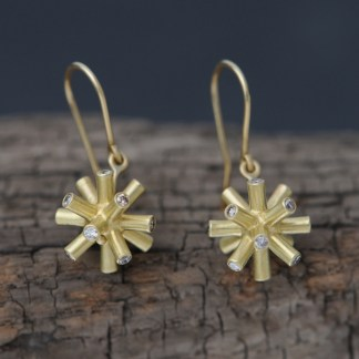 18K gold particle collision earrings with champage diamonds