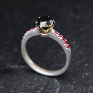 black diamond crown ring with little rubies