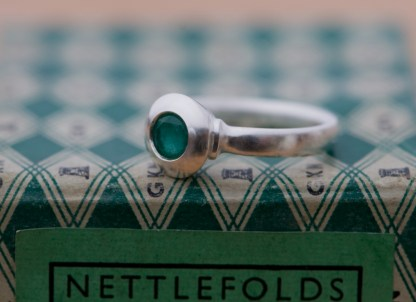 Emerald silver medieval ring