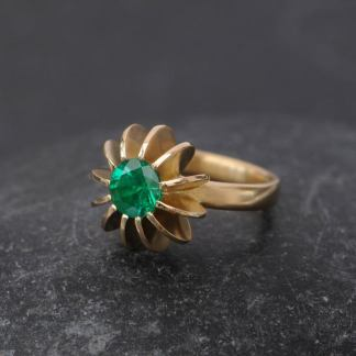Emerald Sea Urchin Ring in 18K gold