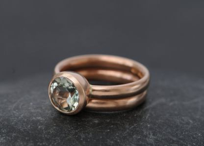 green amethyst wedding set 18K Rose Gold