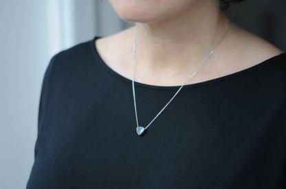 8mm sunstone necklace on neck
